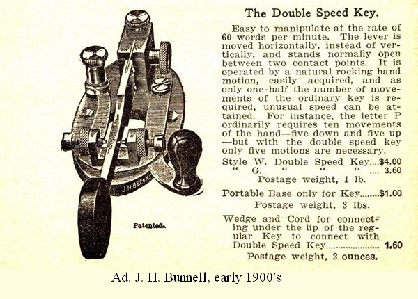 Early 1900's Bunnell Double Speed Key ad, click to enlarge picture.