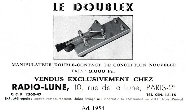 Doublex ad 1, 1954, click to enlarge picture.