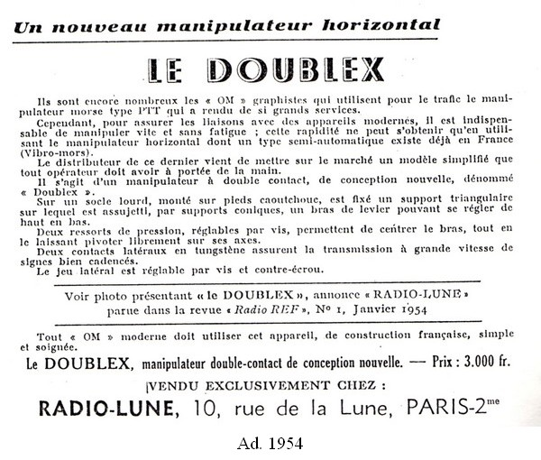 Doublex ad 2, 1954, click to enlarge picture.