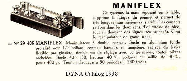 Maniflex, 1938 DYNA catalog, click to enlarge picture.