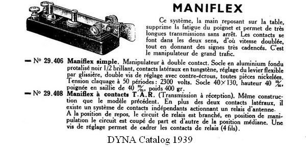 Maniflex, 1939 DYNA catalog, click to enlarge picture.