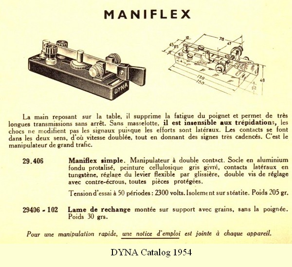 Maniflex, 1954 DYNA catalog, click to enlarge picture.