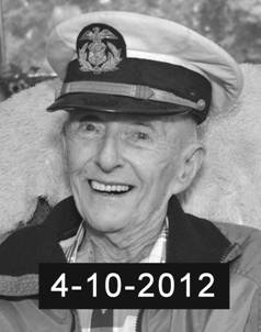Bob - W6BNB wearing his old Merchant Marine officers cap, photo taken one day prior to his passing, click to enlarge picture.